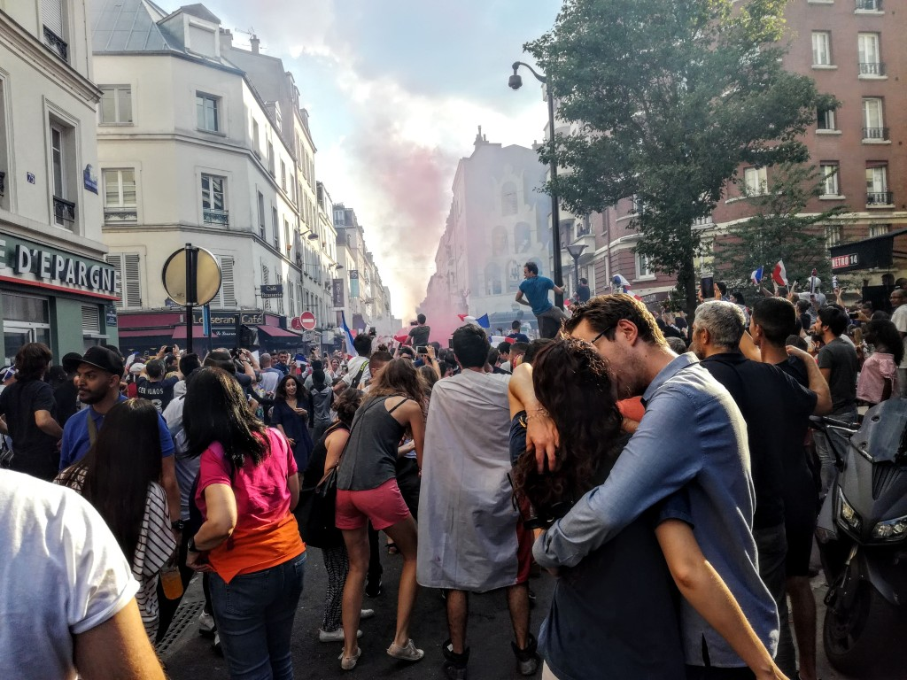Love, peace and victory, that's the football World Cup in Pernety, at Montparnasse, Paris. (15 july 2018) Photo 2018