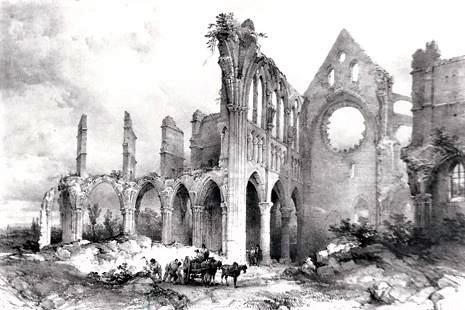Démolition de l'abbatiale transformée en carrière de pierres. Il fallut 40 ans pour en venir (presque) à bout, plus longtemps que pour la construire au XIIIe siècle.