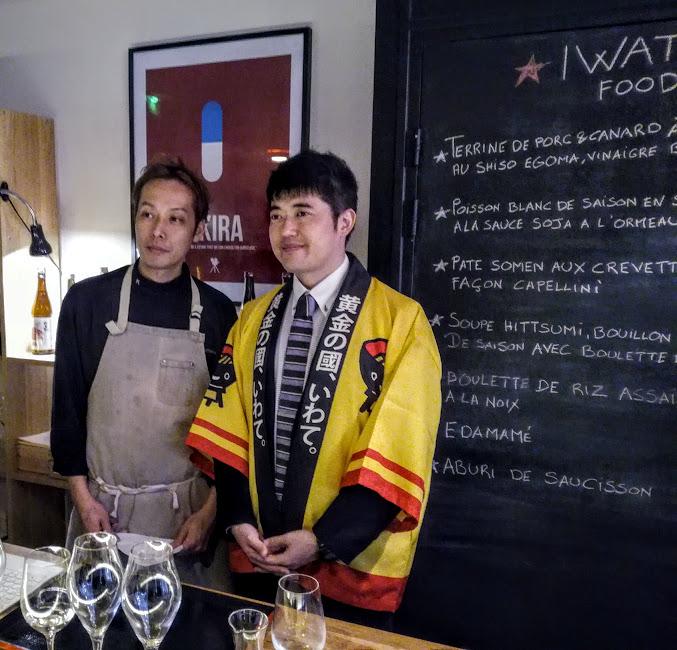 L'étonnante diversité de la gastronomie d'Iwate. Elle vient des produits de la mer et de la montagne qui se marient avec les sakés premium des maîtres brasseurs, les toji de Nambu. Ici à Paris à la Maison du Saké, à gauche, le chef Keita Kitamura du restaurant Erh, le nouveau restaurant de la Maison du Saké (Photo FC)