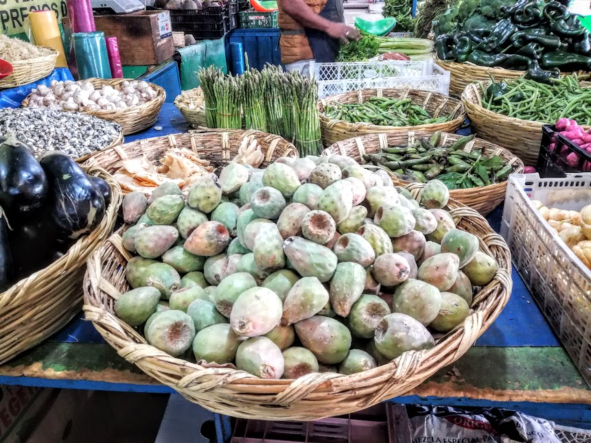 The Nopal fruit, Barbary Figs are cropped from June to October (here on offer at the Market of Xoconostle, the flower market of Mexico City in Jamaica section) Photo FC