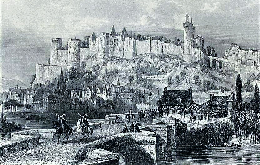 Fortress of Chinon in 1429 from Histoire de France by François Guizot (1875)