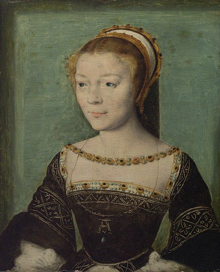 "Anne de Pisseleu d'Heilly, Duchess d'Etampes (1508-1580) the king's favourite. When François returned to France in 1526 from his imprisonment in Spain, he discovered the lovely and ambitious Anne and took her as his lover. She became his official mistress and for the next twenty years, until his death in 1547, she wielded significant influence in political and artistic circles at court. The poet Charles de Sainte-Marthe called Anne de Pisseleu ""la plus belle des savantes et la plus savante des belles"" (""the most beautiful among the learned and the most learned among the beautiful"")."