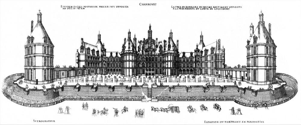 Chambord southeast facade (Jacques Androuet du Cerceau 1576)