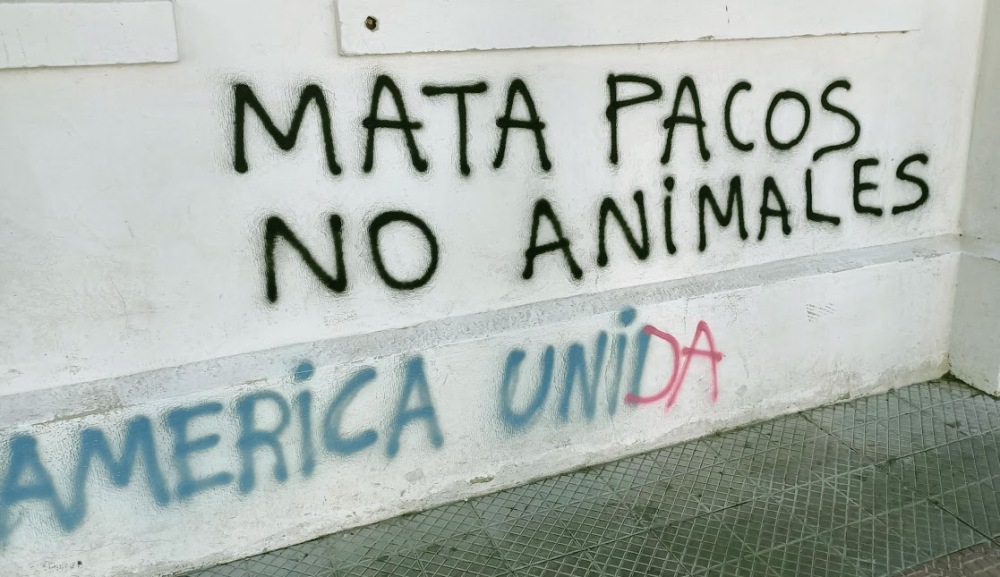 Mata pacos (mort aux flics), qui se graphe sur les murs de la Universidad Academia de Humanismo Christiano proche du quartier Italia (Photo FC)