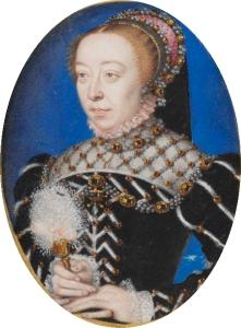 Portrait de Catherine de Médicis (1519-1589) attribué au peintre portraitiste François Clouet (1510-1572). Cette miniature est un des rares portraits de Catherine de Médicis avant qu'elle ne soit veuve en 1559 et qu'elle adopte une tenue de deuil qui l'a fit appeler « la Reine Noire »