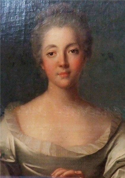 Portrait de Madame Louise Dupin (1706-1799) par le peintre Jean-Marc Nattier (1685-1766). Détail du tableau qui décorait la chambre de Madame Dupin au château de Chenonceau. Le tableau a été exposé lors de la manifestation consacrée à Jean-Jacques Rousseau à Chenonceau, en 2012.